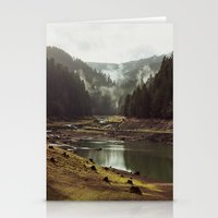 bianca green Stationery Cards featuring Foggy Forest Creek by Kevin Russ