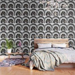 Gray Black White Agate with Silver Glitter #1 #gem #decor #art #society6 Wallpaper
