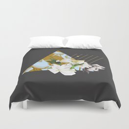 Tropical Flowers & Geometry Duvet Cover