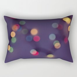 Blurred background with multicolored lights of garland Rectangular Pillow