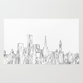 Birmingham, UK Skyline B&W - Thin Line Rug