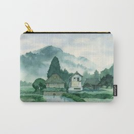 Japanese Village , After Rain ,  Art Watercolor Painting print by Suisai Genki  Carry-All Pouch