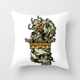 Deathly Lion -  Lion on Dead Skull Throw Pillow