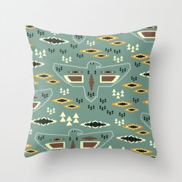 Native pattern with birds Throw Pillow