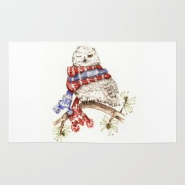 Winking Arctic Owl in Scarf Rug