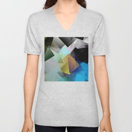 Holographic mountains in Silicon Valley. Unisex V-Neck