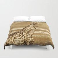 giraffes Duvet Covers featuring Giraffes by haroulita