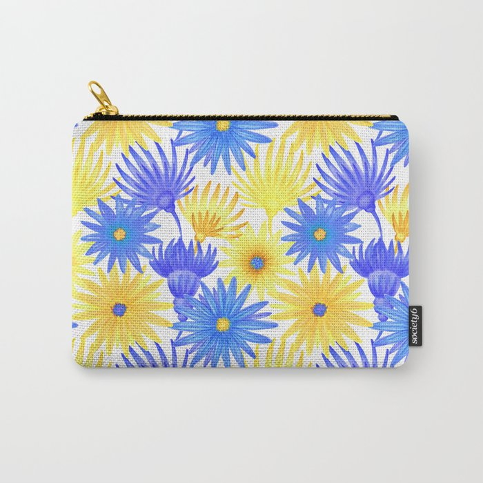 Modern blue yellow watercolor hand painted flowers Carry-All Pouch