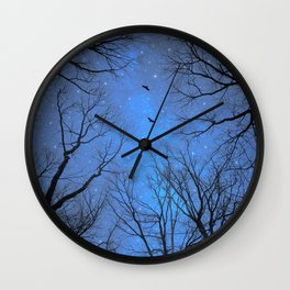 A Certain Darkness Is Needed (Night Trees Silhouette) Wall Clock