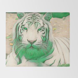 Green Tiger Throw Blanket
