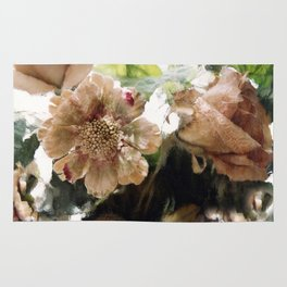 Peach Coral Green Abstract Impressionistic Flowers Wall Prints Home Decor Rug