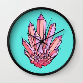 Crystal Cluster- Pink & Mint Wall Clock
