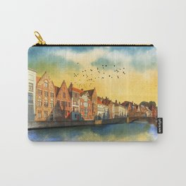 Landscape with beautiful medieval houses and canals. Bruges, Belgium. Carry-All Pouch