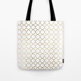 Elegant stylish white faux gold quatrefoil Tote Bag