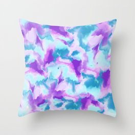 Abstract turquoise purple hand painted watercolor Throw Pillow