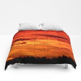 Flame Coloured Sunset Sky Comforters