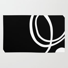 Black and White Circles Abstract Modern Rug