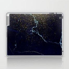 Golden Confetti on Neon Blue Laptop & iPad Skin