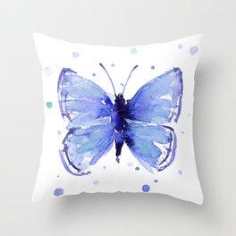 Dark Blue Butterfly Watercolor Throw Pillow
