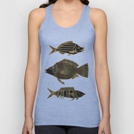 Fantastical Fish 2 - Black and Gold Unisex Tank Top