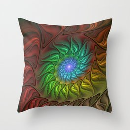 Colorful Spiral Fractal Throw Pillow