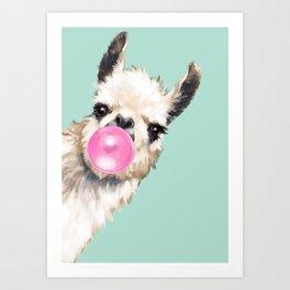 Bubble Gum Sneaky Llama in Green Art Print