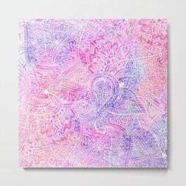 Pink Purple Paisley Love Metal Print
