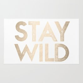 Stay Wild White Gold Quote Rug