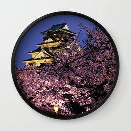 Osaka Castle in Cherry Blossom Japan Wall Clock