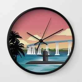 San Diego, CA - Retro Submarine Travel Poster Wall Clock
