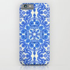 Cobalt Blue & China White Folk Art Pattern Slim Case iPhone 6