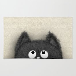 Cute Fluffy Black cat peaking out Rug