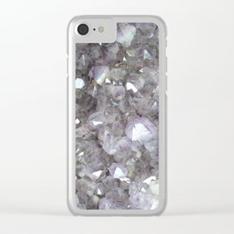 Sparkling Clear Light Purple Amethyst Crystal Stone Clear iPhone Case