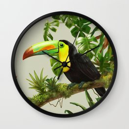 Toucans and Bromeliads (Canvas Background) Wall Clock
