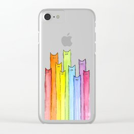 Cat Rainbow Watercolor Whimsical Animals Cats Pattern Clear iPhone Case