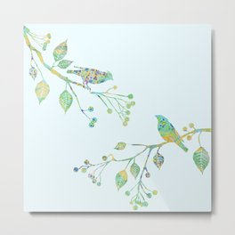 Birds on Branches Love Bird Couple Vintage Floral Pattern Green Yellow Blue Metal Print