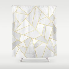 White Stone Shower Curtain