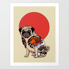 Yakuza Pug Art Print