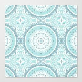 Mandala Pattern Light Blue Teal Aqua Pastels Canvas Print