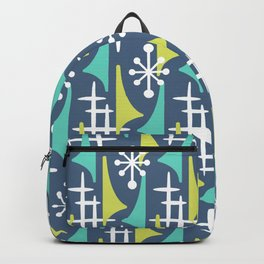 Mid Century Modern Atomic Wing Composition 55 Blue Turquoise and Chartreuse Backpack