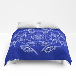 Mandala 01 - White on Royal Blue Comforters