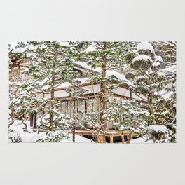 Japanese Temple in Winter Rug