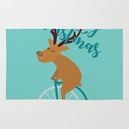 Mr Reindeer having Fun with his Penny-farthing Bicycle Rug