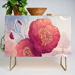 Christmas Roses :: Red Petals, Frosted Leaves Credenza