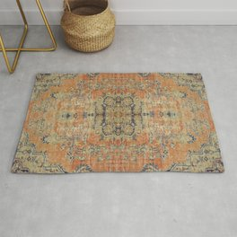 Vintage Woven Coral and Blue Rug