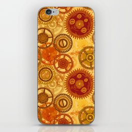 Vintage seamless pattern with gears of clockwork on aged paper background. iPhone Skin