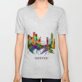 Denver Colorado Skyline Unisex V-Neck