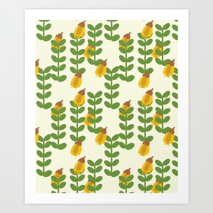 Retro Kowhai Pattern Art Print