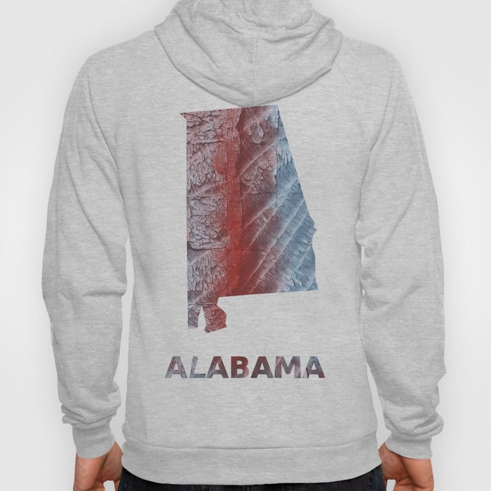 Alabama map outline Red blue watercolor Hoody