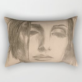 Home Decor Drawing a Woman Digital Art Living room Decoration Original Wall Print Rectangular Pillow